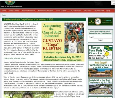 Reprodução/Site Oficial Hall da Fama do Tênis